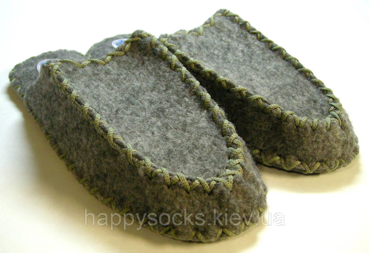 Мужские тапочки из войлока ручной работы с серым шнурком