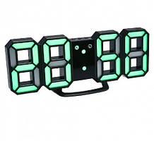 Настільні LED годинники електронні з будильником термометром від USB Caixing CX-2218 чорний корпус зелена