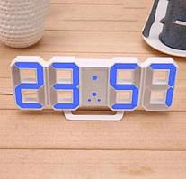 Настільні LED годинники електронні з будильником термометром від USB Caixing CX-2218 білий корпус, синє підсвічування