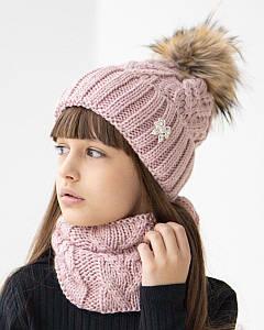 Вязаний комплект з помпоном для дівчинки оптом - Артикул 2659