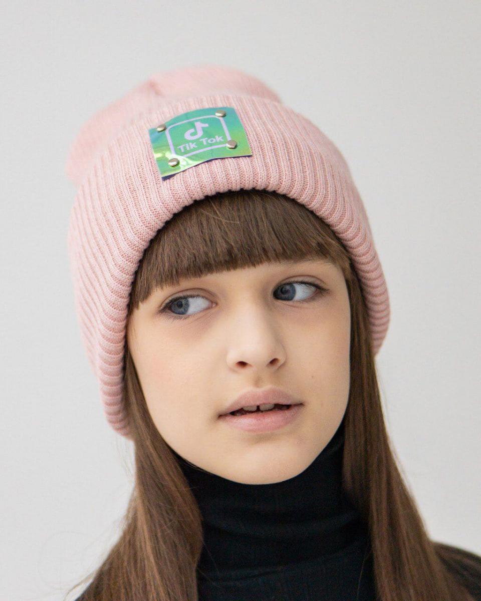 Стильна зимова шапка з відворотом для дівчинки оптом- Артикул 2727