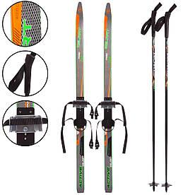Лыжи беговые в комплекте с палками Zelart SK-0881-150B черный-салатовый (KL00155)
