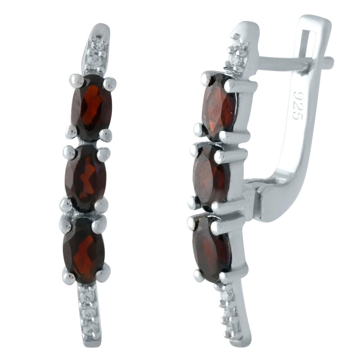 Серебряные серьги DreamJewelry с натуральным гранатом (1960134)