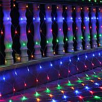 Гирлянда светодиодная сетка 240 LED, белый шнур 2,2 (Мультиколор)