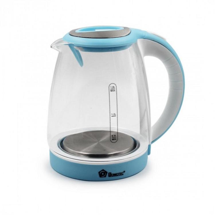 Электрический стеклянный чайник 1,8 л (Голубой)