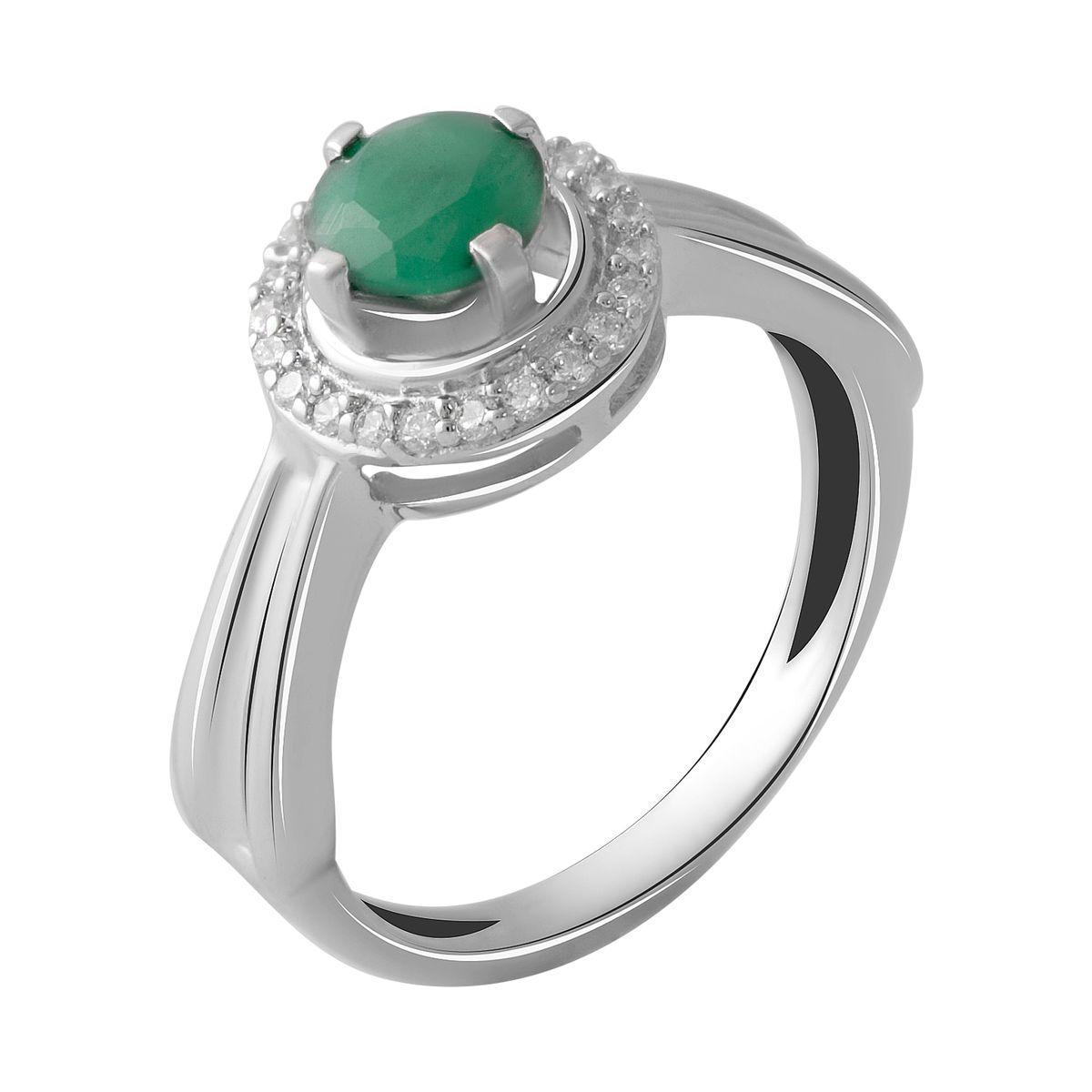 Серебряное кольцо DreamJewelry с натуральным изумрудом 0.74ct (2051374) 17 размер