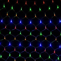 Гирлянда светодиодная сетка 120 LED, белый шнур 1,5х1,5 м (Мультиколор)