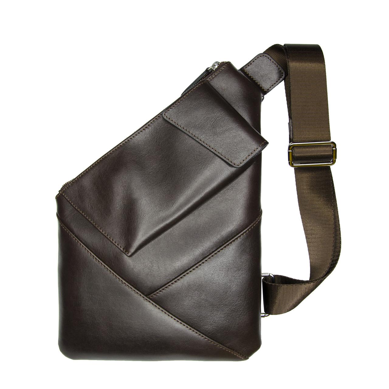 Чоловіча сумка-кобура Grande Pelle 310х210 мм глянцева шкіра шоколад