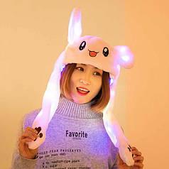 Белая светящаяся шапка с двигающимися ушами пикачу, заяц. Зверошапка