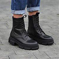 Ботинки женские зимние кожаные черные на толстой подошве, женские берцы (код 6604)