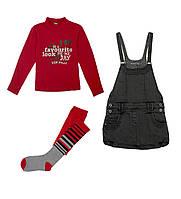 Комплект: Гольф, сарафан, колготы Losan Mc baby girls (026-8036AD/283) Темно-красный 7 Years-122 см