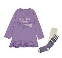 Костюм: Платье, колготы Losan Mc baby girls (026-8035AD/558) Светло-баклажановый 7 Years-122 см