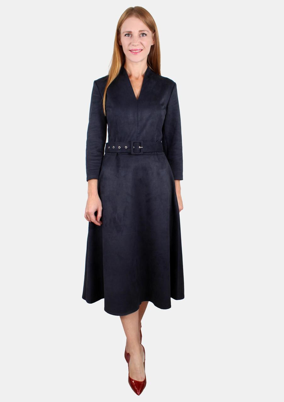 Замшевое платье миди с поясом 44-50 р ( разные цвета )