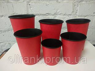 Стакани паперові 185 мл 50шт/уп RED&BLACK (48уп/ящ)(кр-69)