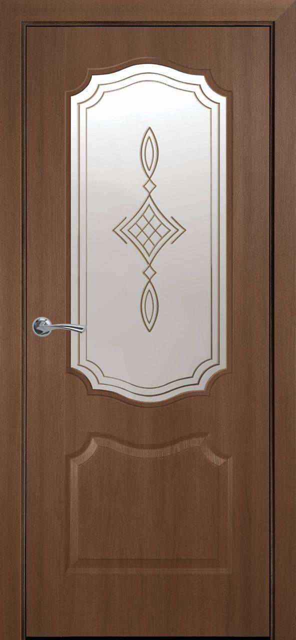 """Дверь межкомнатная """"Новый Стиль"""" модель ПВХ Вензель Р1, золотая ольха (стекло с рисунком)"""