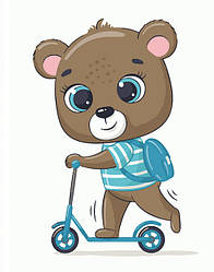 Детская картина-раскраска по номерам Мишка школьник 40х30 см, BrushMe (MEX7120)