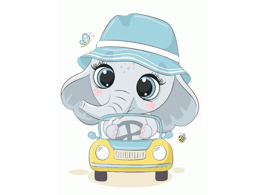 Детская картина-раскраска по номерам Слоненок автомобилист 40х30 см, BrushMe (MEX7121)