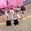 Серебряный набор с натуральными гранатами кольцо размер 19 + серьги 24х10 вставка гранат, фото 3