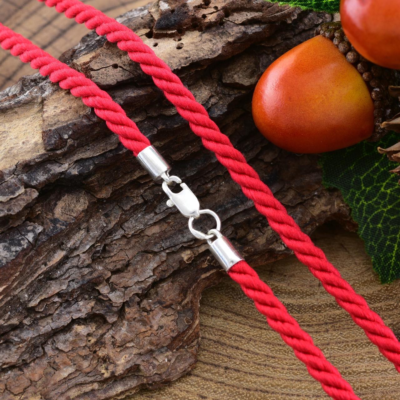 Шнурок плетённый шелковый цвет красный длина 40 см ширина 3 мм вес серебра 0.95 г