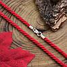 Шнурок плетённый шелковый цвет красный длина 40 см ширина 3 мм вес серебра 0.95 г, фото 3