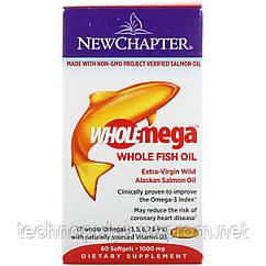 Жир аляскинского лосося New Chapter 1000 мг 60 желатиновых капсул (NC5002)