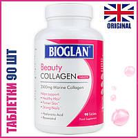Bioglan Beauty Collagen Таб. 90 шт (Биоглан Коллаген + Гиалуроновая кислота для красоты волос, кожи и ногтей)