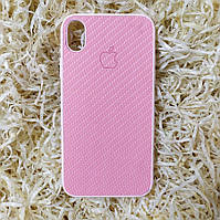 Чехол Carbon Silicone Case для iPhone XR, Светло-розовый
