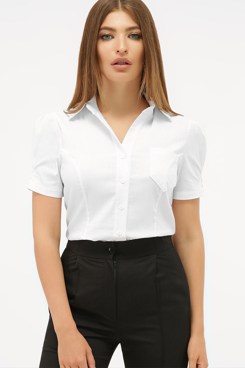Классическая женская однотонная белая блузка с черными пуговицами и рукавами-фонариками Эльза к/р