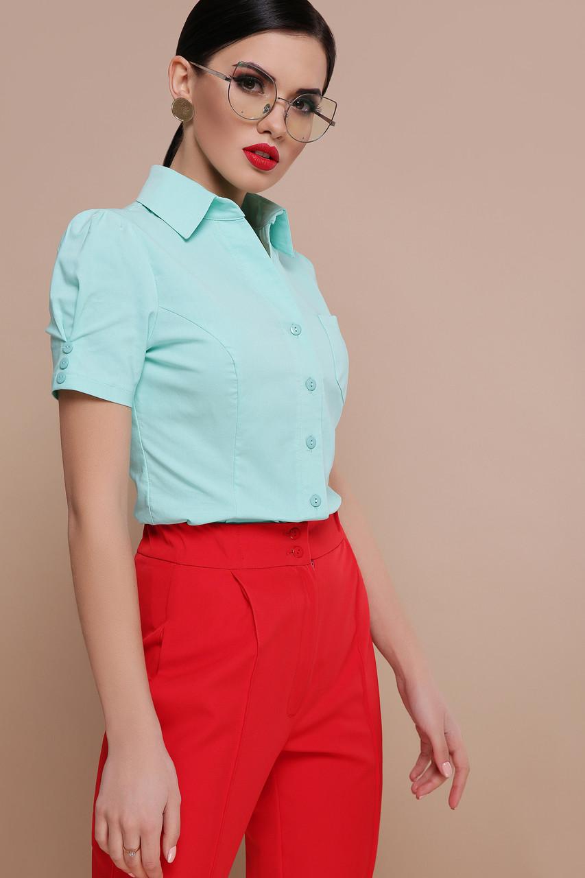 Женская однотонная приталенная блузка с одним карманом короткий рукав Эльза к/р мятная