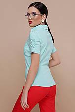 Женская однотонная приталенная блузка с одним карманом короткий рукав Эльза к/р мятная, фото 3