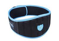 Пояс для спортзала Power System Woman's Power PS-3210 Чорний з голубою обшивкою, M, фото 1