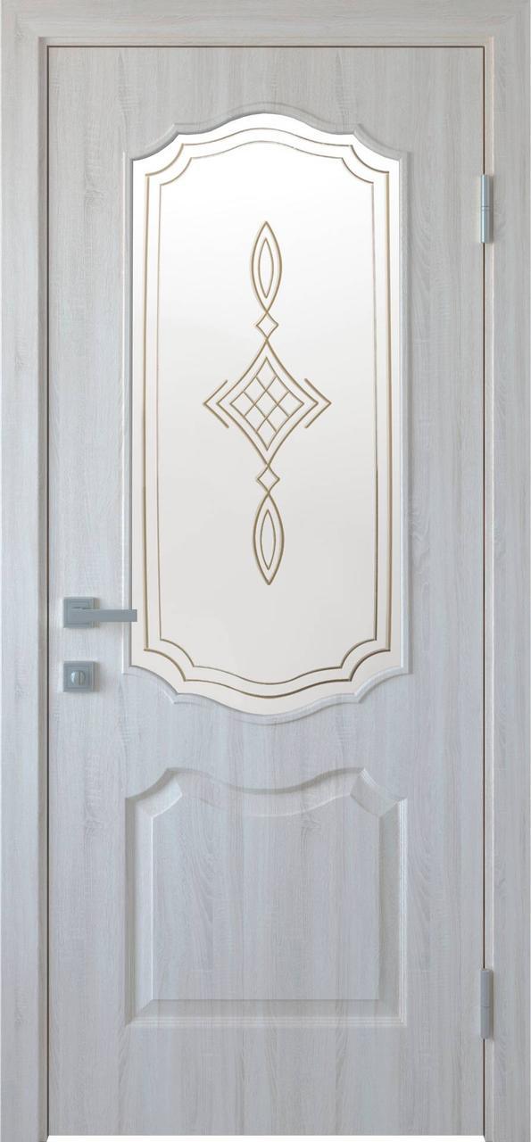 """Дверь межкомнатная """"Новый Стиль"""" модель ПВХ Вензель Р1, ясень New (стекло с рисунком)"""