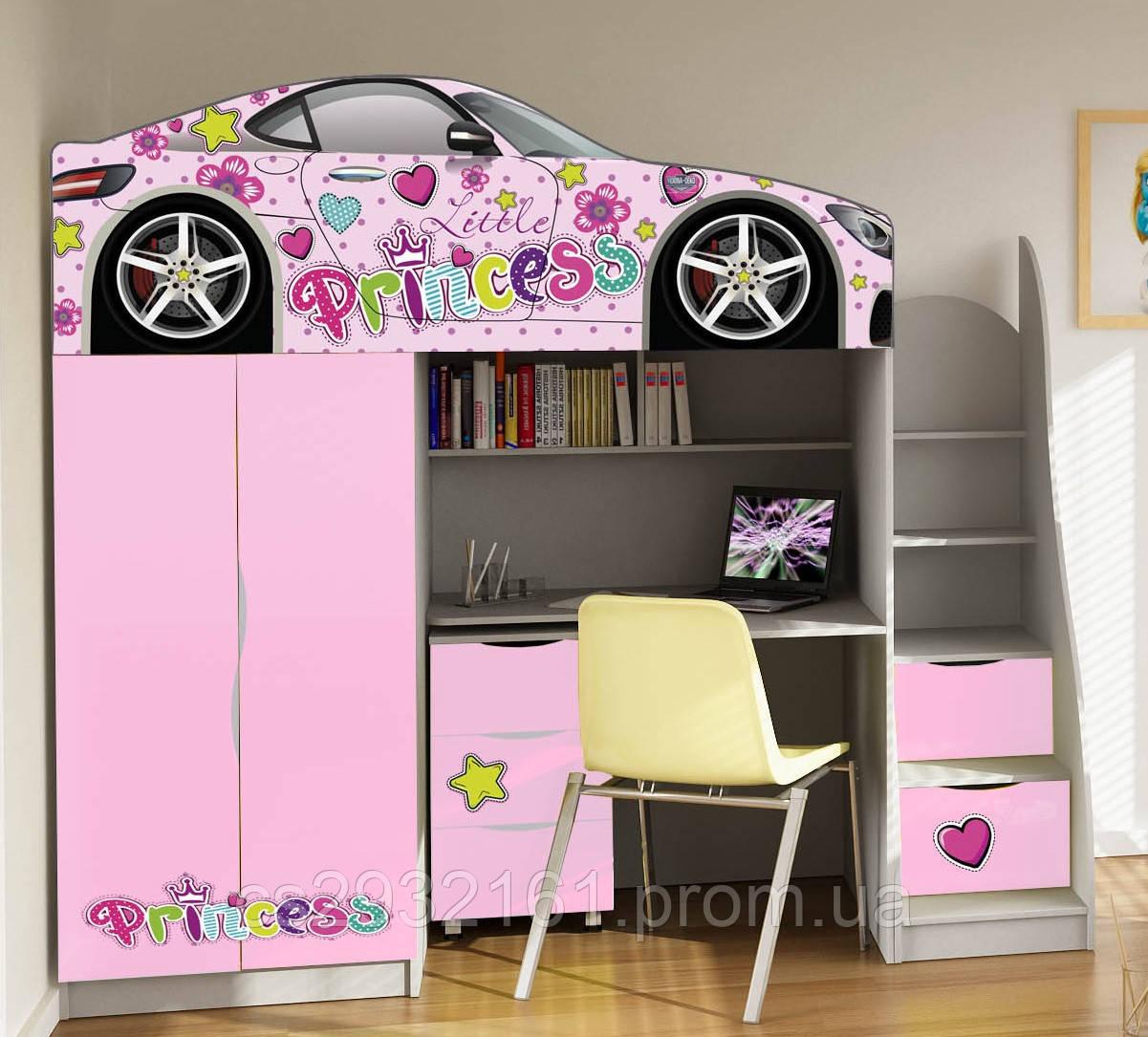 Кровать чердак машинка для девочки. Разные автомобили и цвета.