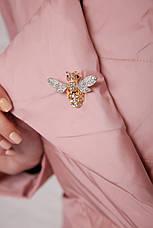 Женская короткая демисезонная куртка комбинированная с отложным воротником без капюшона пудра 18-006, фото 3