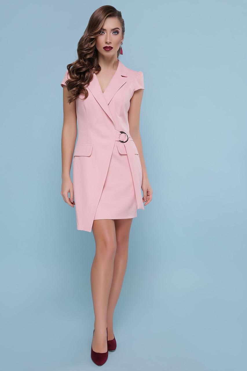 Нарядное летнее платье-пиджак с короткими рукавами персиковое