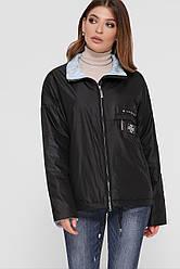 Черная прямая женская куртка-ветровка короткая без капюшона