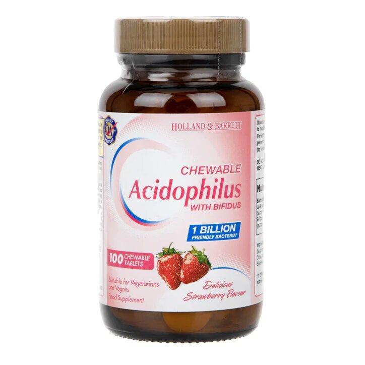 Биологически активная добавка Holland & Barrett Acidophilus Chewable Strawberry, 100 шт.