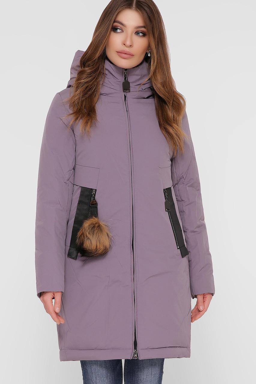 Лиловая зимняя женская куртка однотонная с карманами и капюшоном