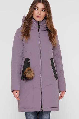 Лиловая зимняя женская куртка однотонная с карманами и капюшоном, фото 2