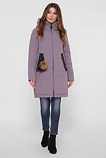 Лиловая зимняя женская куртка однотонная с карманами и капюшоном, фото 3