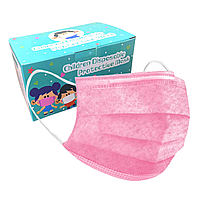 Детская медицинская маска - 3х слойная (прослойка мельтблаун) розовая