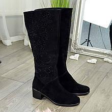 Сапоги замшевые классические демисезонные женские на каблуке. 37 размер, голень 42 см