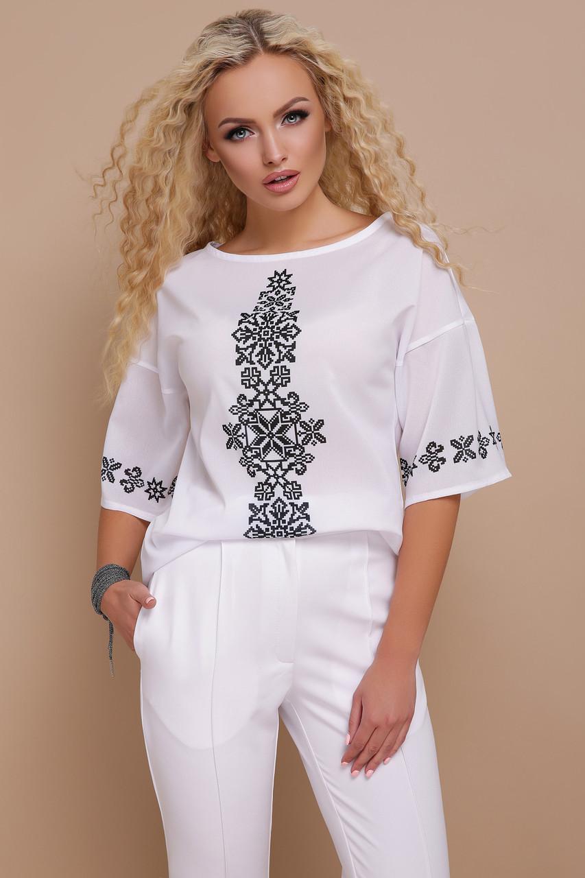 Легкая летняя белая блузка широкие рукава Орнамент черный блуза Мирана к/р