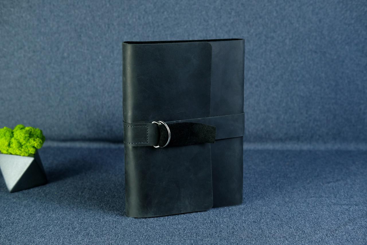 """Обложка для блокнота А5 """"Модель № 6"""" Винтажная кожа цвет Черный"""