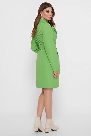 Зеленый двубортный женский плащ до колен, фото 2