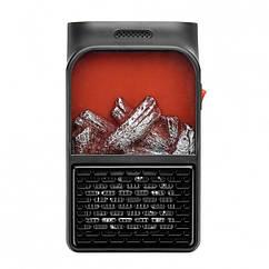 Обогреватель портативный Flame Heater Plus 500W с имитацией камина LCD дисплеем + пульт Черный kr, КОД: