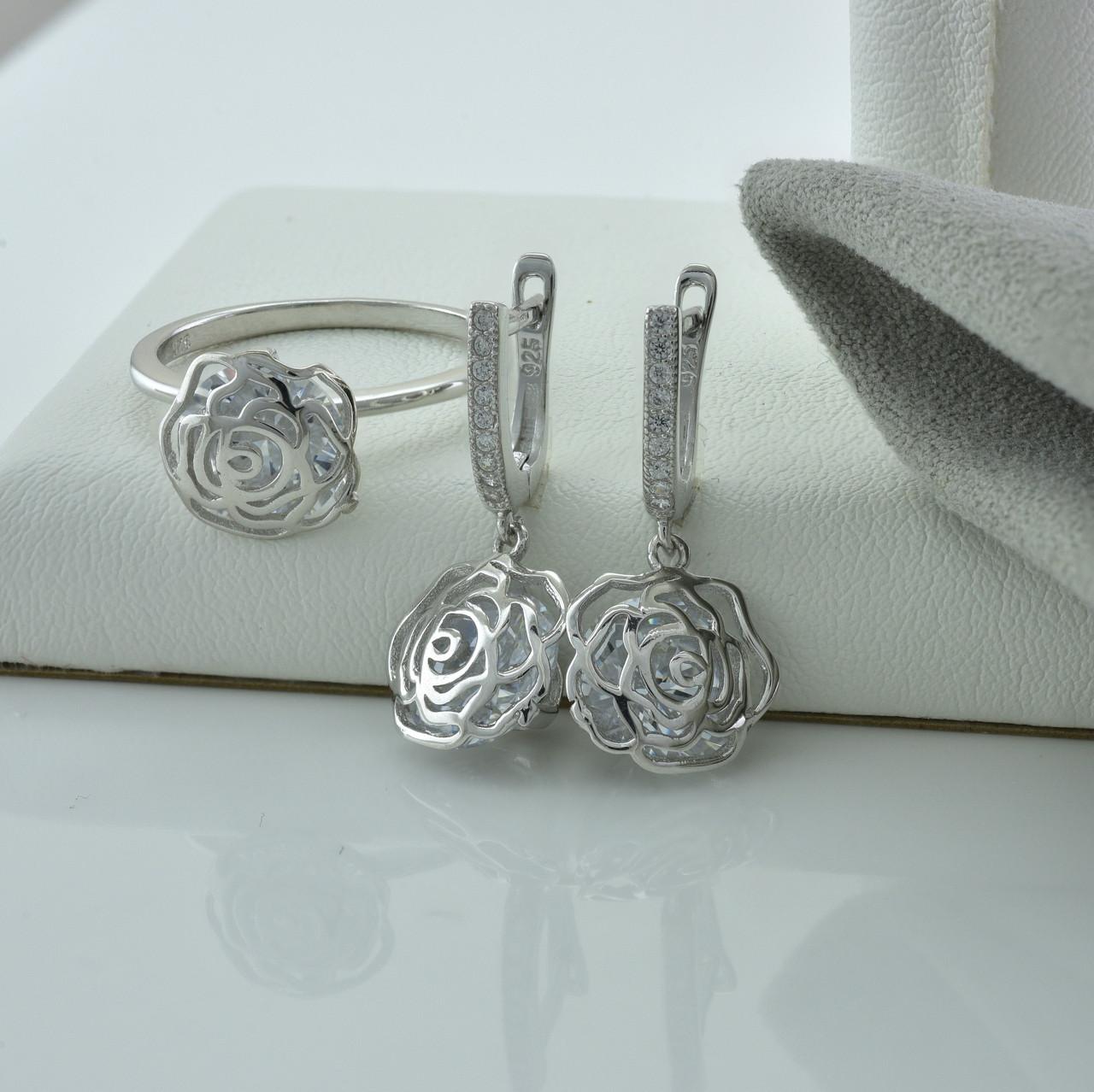 Серебряный набор кольцо размер 19 + серьги 26х10 мм вставка белые фианиты вес 9.4 г