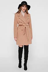 Демисезонное женское короткое пальто с широким воротником ПМ-132 горчичное