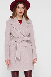 Короткое легкое женское двубортное пальто ПМ-132 светло-серое
