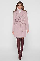 Женское демисезонное легкое пальто прямое двубортное выше колен ПМ-132 пудровое